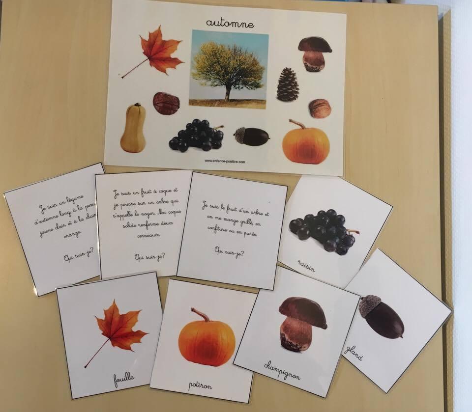 Automne 2: devinettes et affiche Montessori